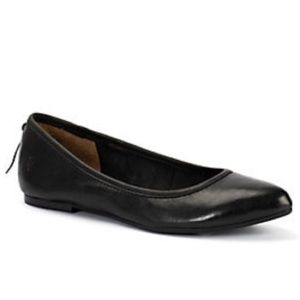 Frye Black Leather Regina Pointed Toe Lace Flat
